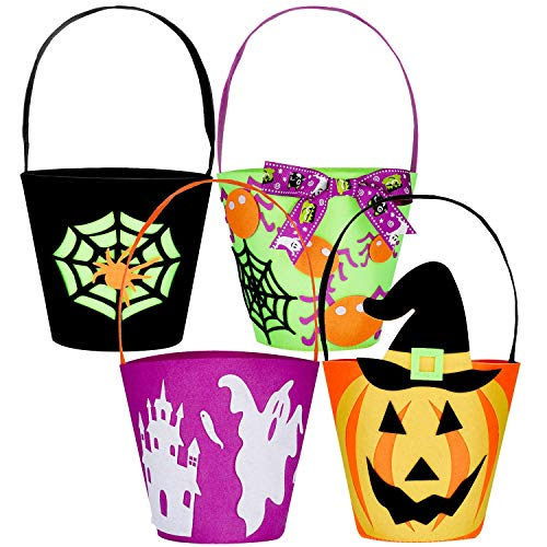 Truco o Trato para Halloween Bolsas 4 Piezas Sintió Bolsas de Calabaza de Halloween Cestas de Golosinas con Asas para Decoraciones de Fiesta de Cumpleaños de Halloween