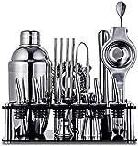 Hammer Cocktail Shaker Set, 19 piezas de la barra de herramientas del kit del camarero con accesorios de la barra, soporte, de acero inoxidable Mezclador de Martini, bebidas cuchara de mezcla, aparejo