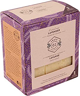 Crate 61 Lavender Soap 3 pack, 100% Vegan Cold Process, scented with premium essential oils, for men and women, face and body. ISO 9001 certified manufacturer