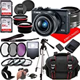 Canon EOS M100 Mirrorless Camera Kit w/EF-M15-45mm and 1080P Video + Case + 128GB Memory (25pc Bundle)