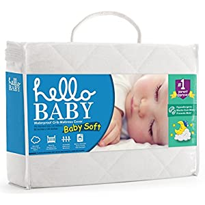 Hello Baby Waterproof Crib Mattress Sheet – White Ultra Soft Quilted Bamboo Terry Pillow-Top Fitted Cover for Boys and Girls – Padded Breathable Liner for Standard Size Nursery Cribs and Toddler Beds