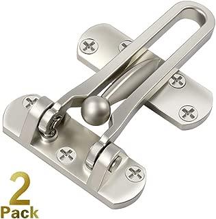Home Security Door Lock, 2 Pack Front Door Locks for Kids, Home Reinforcement Lock for Swing-in Doors, Thicken Solid Aluminium Alloy, Satin Nickel