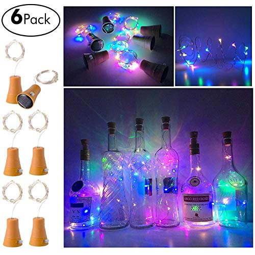 Keklle 6 Pack Solar Powered Wine Bottle Lights, 10 LED Waterproof Colorful Copper Cork Shaped Lights for Wedding Christmas, Outdoor, Holiday, Garden, Patio Pathway Decor