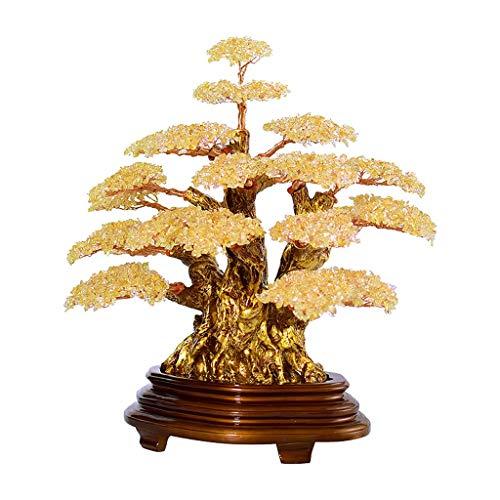 Ornamento de Escritorio Decoración piedra preciosa del estilo del árbol de Feng Shui suerte Figurita cuarzo cristalino natural del árbol del dinero Bonsai for la suerte y la riqueza (amarillo) artesan