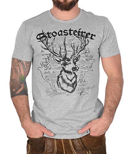 Trachten T-Shirt für Männer Steirische Shirt Stoasteirer Tracht Hirsch Motiv Trachtenmotiv zur Lederhose Bio-Baumwolle