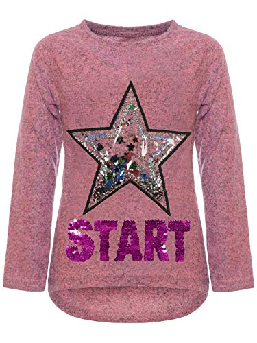 BEZLIT Kinder Mädchen Pullover Sweatshirt Pulli Wende-Pailletten Sweater Langarm-Shirt 30015 Pink 104