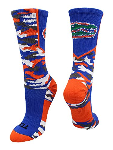 TCK University of Florida Gators Woodland Camo Crew Socks (Royal/Orange/White, Small)