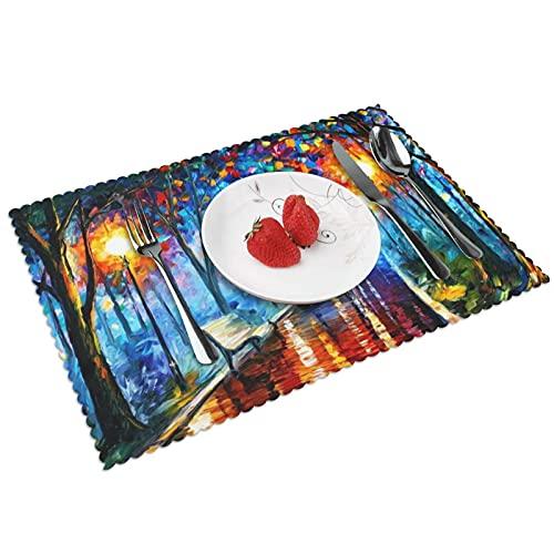 Pintura artista pintor cepillo óleo sobre lienzo tipo para la estera de tabla 4 piezas cocina mantel lavable algodón lugar estera