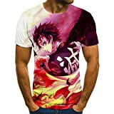 T-Shirt Camiseta de animación para Hombre, Ropa de Calle Grande para Hombre deModa 3D de Halloween, Nueva Camiseta Punk en Verano Anime de Dibujos animados-2XL