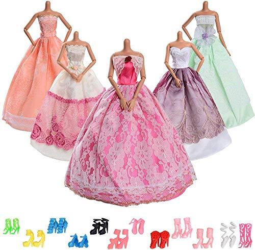 WENTS 15 Stück Mode Urlaubstag Kleidung Kleider für Barbie Puppen Doll, 5 Partymoden Hochzeit Prinzessin Kleider + 10 Paar Schuhe für Weihnachten und Geburtstag Geschenk