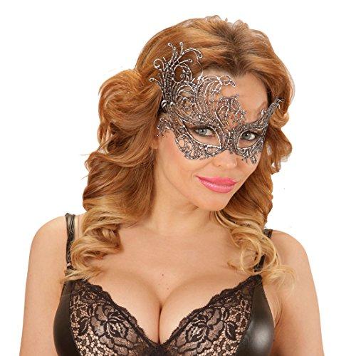 Amakando Venezianische Barock Maske - Silber - Ballmaske venezianisch Elegante Spitzenmaske Karneval Venezianische Masken Venedigmaske für Maskenball Antike Augenmaske Gothic