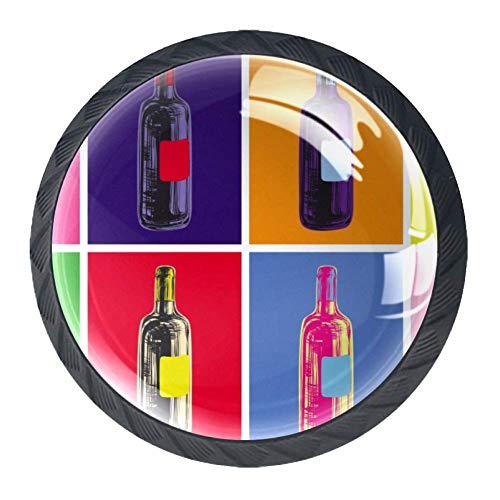 Pop Art Fles Lade Knop Trek Handvat Kristal Glas Cirkel Vorm Kast Lade Trekt Kast Knopen met Schroeven voor Thuis Kantoor Kast Cupboard 4 Stuks