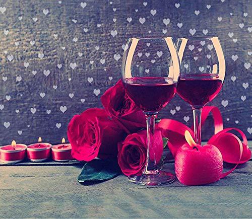 Diamant Schilderij met Diamant Borduurwerk DIY 5D Slaapkamer Woonkamer Decoratie Schilderij Wijnglas rood Rose 40X50 cm