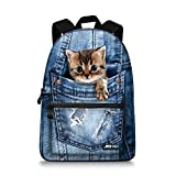 JBS-NO.1 Cute Cats Backpack for Teen Girls Boys,Canvas Dogs Animals BookBags for School (cat-4)