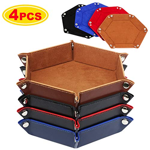 K.T. Fancy Dice Tray 4 Pieces Folding D&D Dice Tray Dice Holder Storage Box for Rolling Dice Games Metal Dice Rolling Tray PU Leather and Velvet