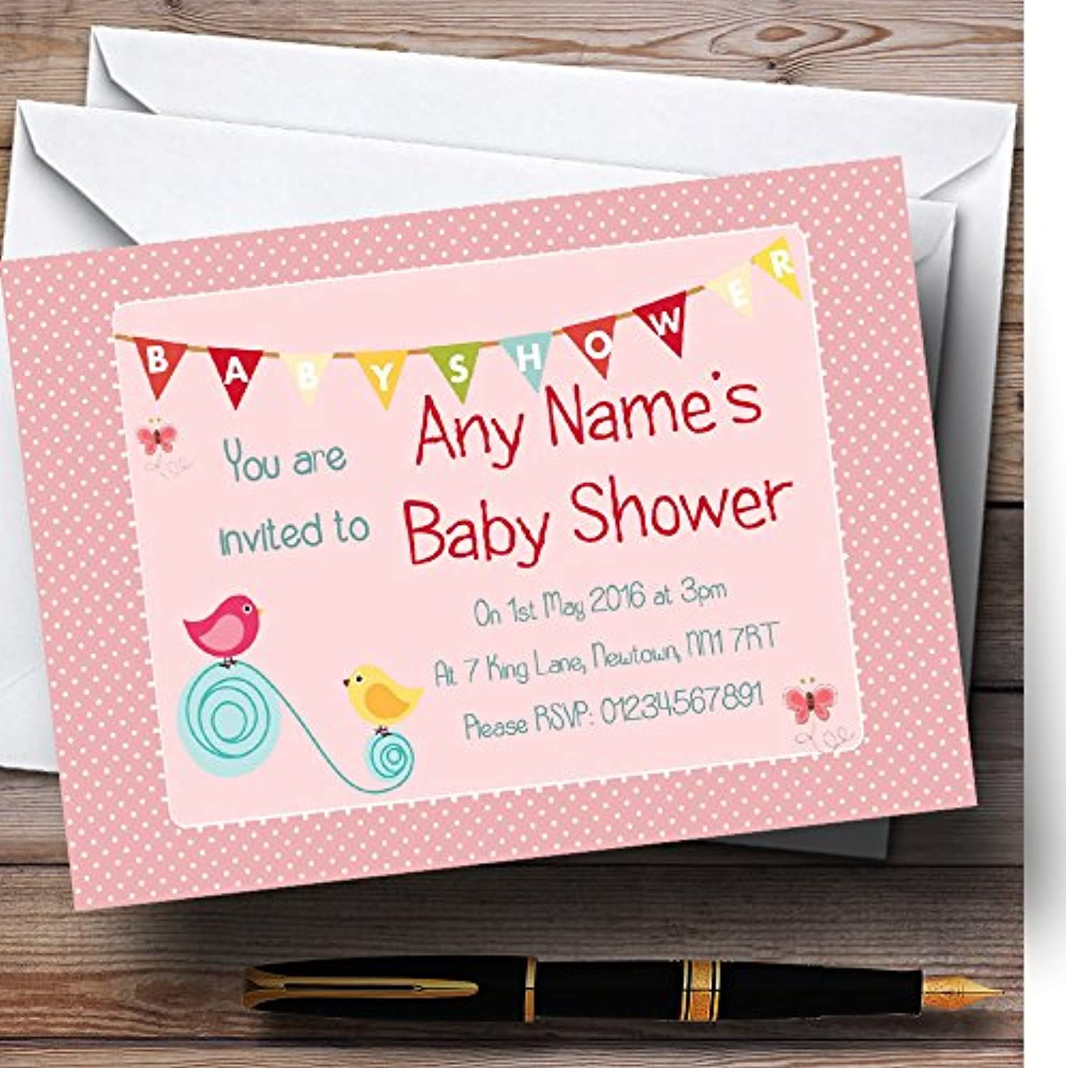 Sweet Birds Pink Girl Personalised Baby Shower Invitations   Invites & Envelopes