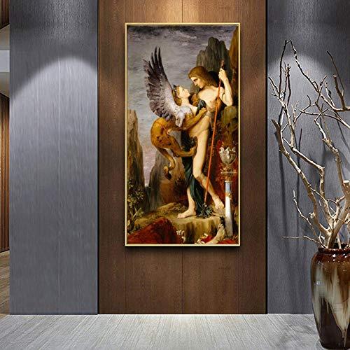 QianLei Edipo y la esfinge de Gustav Morrow Pintura al óleo Impresiones sobre Lienzo Arte de la Pared Pintura Famosa Imágenes para la decoración de la Sala de estar-60x120cm_No_Frame