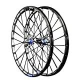26/27.5in Bike Wheelset,Double Wall 24 Holes Quick Release Mountain Bike MTB Rim Rear Wheel Bicycle (Color : Blue, Size : 26in)