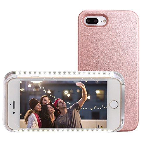 Funda con luz para Selfies Carcasa para iPhone Funda de Móvil Iluminada para Selfies y Facetime (Para iPone 7 Plus, rosa oro)