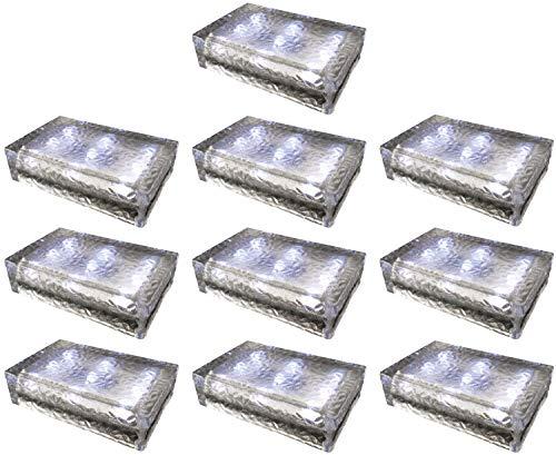 10 pezzi FUCHS Mattonella Solare LED Vetro bianco freddo 23x15x6 cm – per l\'illuminazione del percorso (antiscivolo)