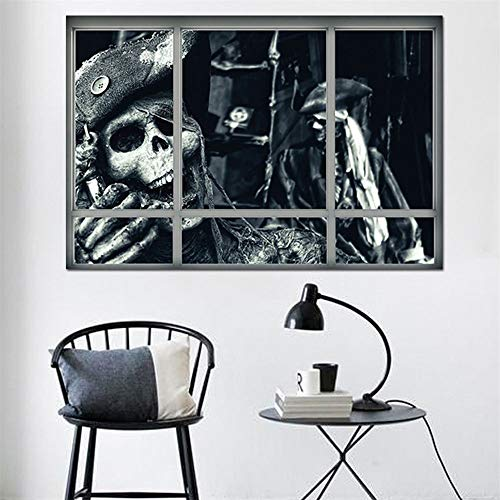 Keliour Halloween Wall Stickers 3D Broken Skeleton Pirate Window Clings Glass Showcase Sticker Wall Sticker for Living Room (Color : A, Size : One size)