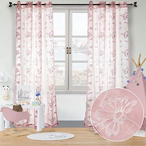 softan Gardinen Lichtdurchlässige Vorhänge mit Ösen Transparent Gardinen für Fenster im Wohnzimmer Schlafzimmer, 2er-Set, je 245x140cm (Rosa/Blumen)