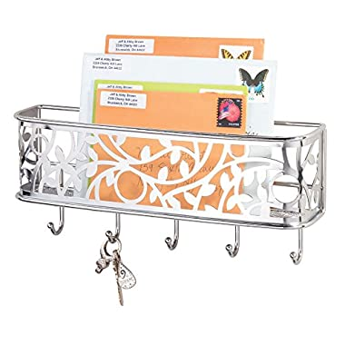mDesign Mail, Letter Holder, Key Rack Organizer for Entryway, Hallway, Mudroom - Wall Mount, Chrome