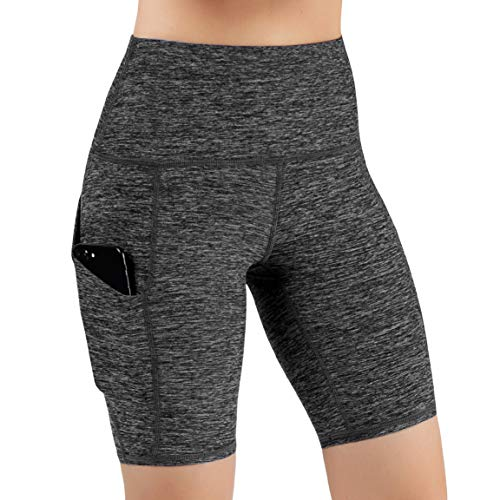 ODODOS High Waist Out Pocket Yoga Short Tummy Control Workout Running Athletic Non See-Through Yoga Shorts,CharcoalHeather,Medium