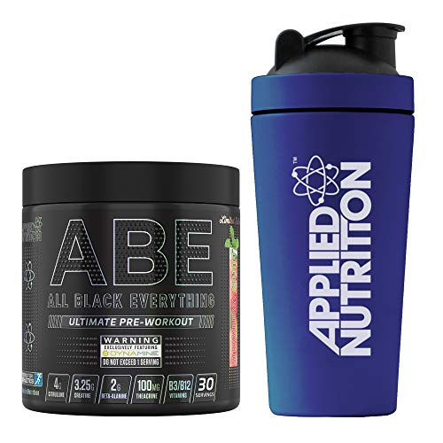 Applied Nutrition Bundle ABE Pre Workout 315g + 750ml Steel Protein Shaker | All Black Everything Preworkout Boosts Energy & Performance with Citrulline, Creatine, Beta Alanine (Strawberry Mojito)