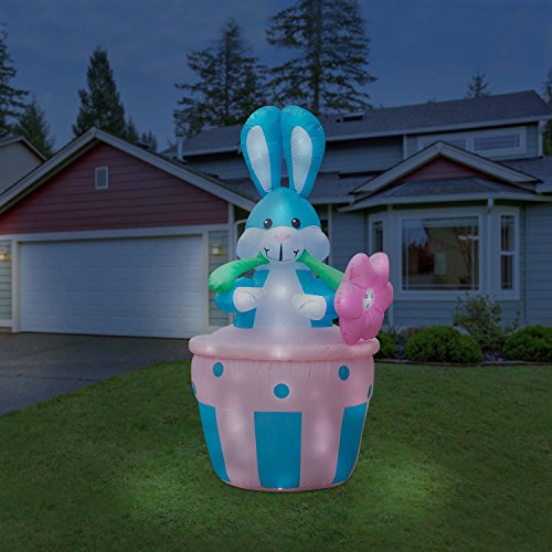 Holidayana Giant 8 Foot Inflatable Easter Bunny In Basket Airblown Lawn Decoration Featuring Lighted Interior with Built-in Fan and Anchor Ropes
