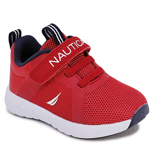 Nautica Kids Boys Girls Fashion Sneaker Athletic Running Shoe with Stap for Toddler and Little Kids-Jurnee Saga-Red Tonal-7