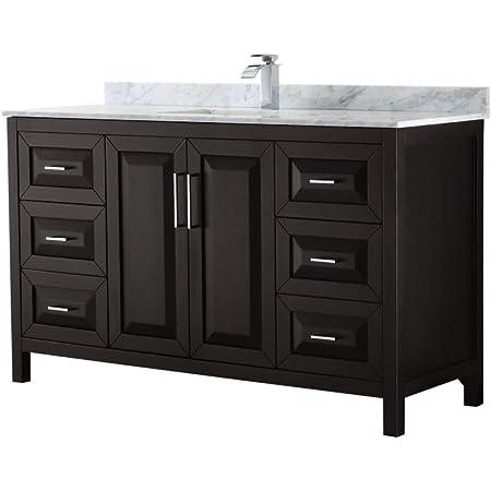 Daria 60 Inch Single Bathroom Vanity In Dark Espresso White Carrara Marble Countertop Undermount Square Sink And No Mirror Amazon Com