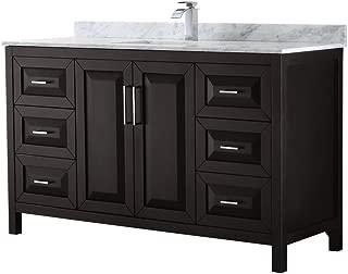 Wyndham Collection Daria 60 inch Single Bathroom Vanity in Dark Espresso, White Carrara Marble Countertop, Undermount Square Sink, and No Mirror