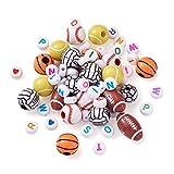 Craftdady 630 cuentas de alfabeto acrílico de la A a la Z, baloncesto, rugby, voleibol, fútbol, tenis, béisbol, cuentas espaciadoras sueltas para pulseras, joyas, manualidades