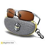 BLUPOND Polarized Sports Sunglasses for Men - Daytime Anti-Glare Copper TAC Lens - Metal Semi-Rimless Frame - Driving Fishing Shooting - Knight Visor (Silver Frame Copper Lens)