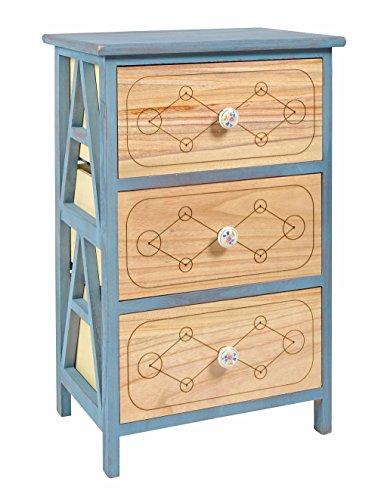 ts-ideen Kommode Schrank blau naturfarben Nachttisch 3 Schubladen mit Kerramikknauf