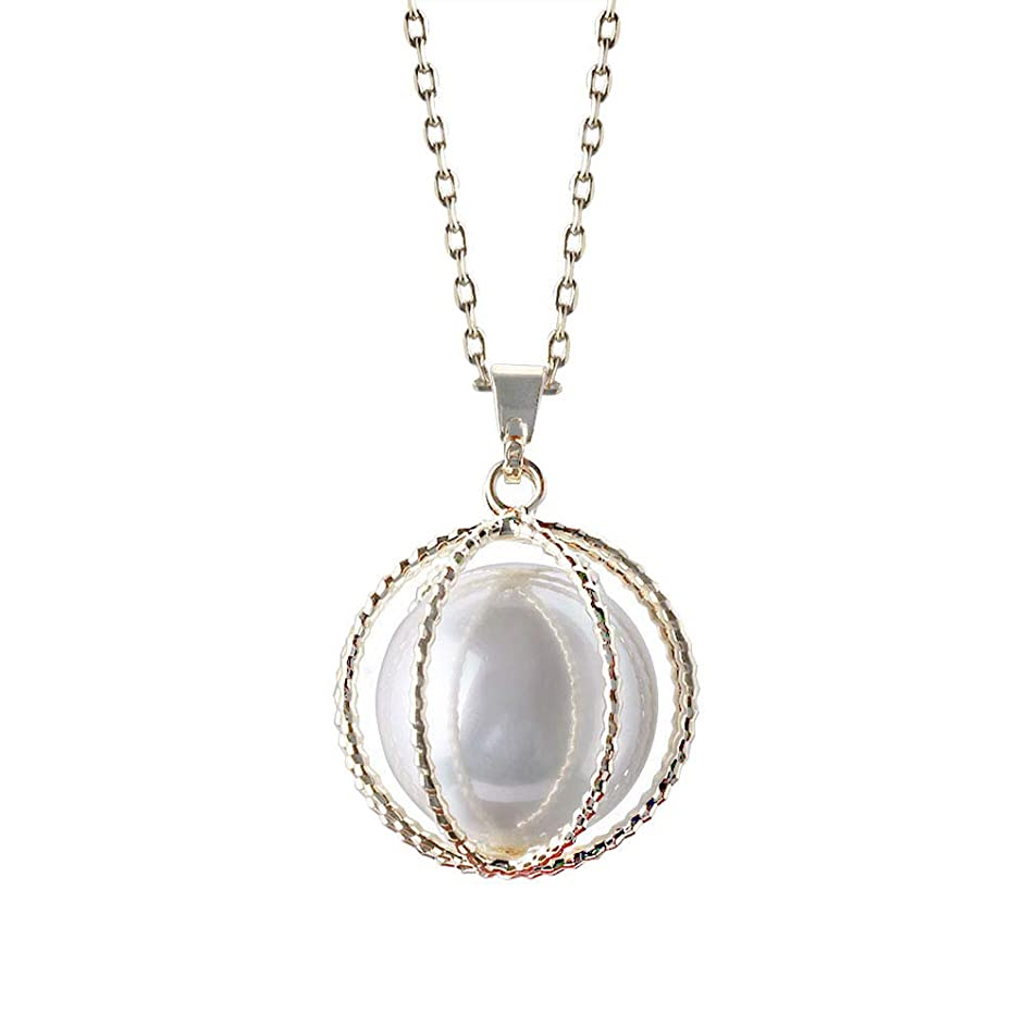Gem Stone King 18mm Round Simulated Pearl 14K Yellow Gold Plated Pendant Necklace + 18