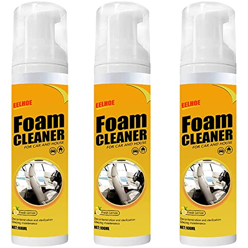 100ml Multipurpose Foam Cleaner Spray, Foam Cleaner for car and House Lemon Flavor, All-Purpose Household Cleaners for Kitchen, Bathroom, Car (3 PCS)