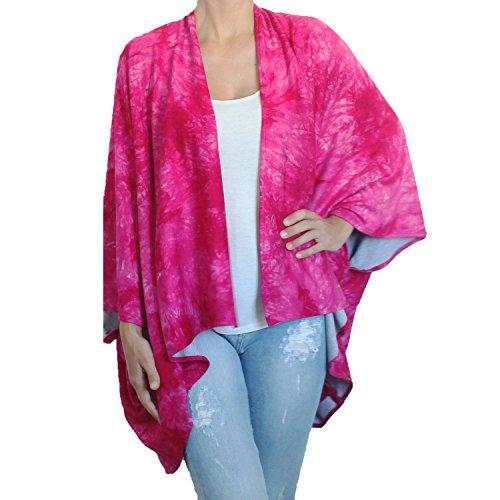 BRANDELIA Camisola Hippy Chic Túnica Kimono Estampado Batik Playa Bikini Cover up Beach Wear Traje baño para verano. Color fucsia, talla única, 100% viscosa, edición limitada.