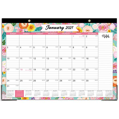 "2021 Desk Calendar - Desk Calendar 2021 with Notes Content and Julian Date, Jan 2021 - Dec 2021, 17""x 12"", Thick Paper with Floral Pattern"