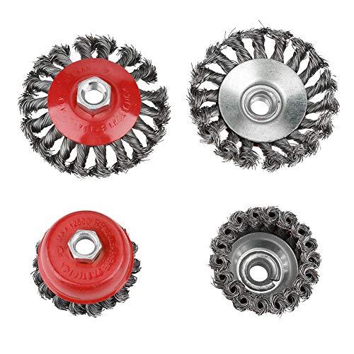 Cepillo de rueda de alambre, 4 piezas de cepillo de copa de rueda de alambre, juego de cepillos de rueda de alambre de acero de taza plana con nudo giratorio para amoladora angular