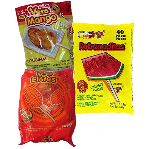 Spicy Mexican Candy Kit Including Vero Mango, Vero Elote and Watermelon Rebanaditas Lollipops