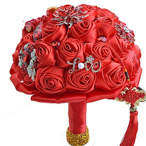 Bröllopsbukett röd kinesisk knut arv tema bröllop brudbukett kristallbrosch bröllopsbukett silkesros konstgjorda blommor bröllop, heminredning