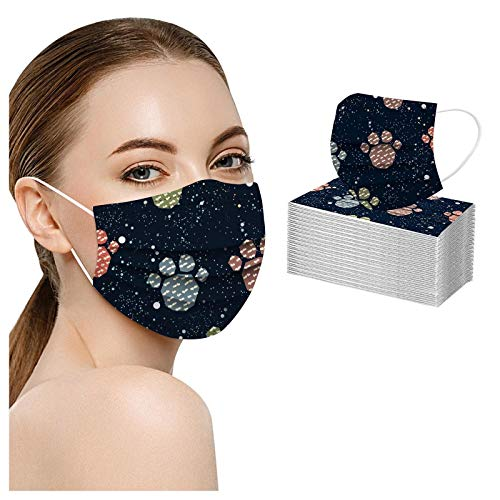 Koippimel 50pcs, Cute Cartoon Print Disposable_Masks for Adult, Dog Bone Cat Paw Printed Face_Mask, 3-Layers High Filtration Non-Woven for Women Men Full Protection, 1124 Style_034