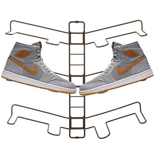 mDesign Organizador de zapatos – Zapatero de pared ajustable para tres pares de zapatillas, calzado deportivo, etc. – Una alternativa al mueble zapatero que ahorra espacio – color bronce