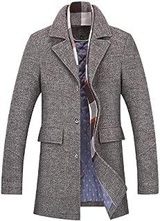 Men's Clothing Men's lapel button Coats, winter warm business coat wool Windbreaker, lining plus cotton, detachable scarf, anti-pilling/wind wrinkle/washable (Color : Gray, Size : XXL) Clothing autumn