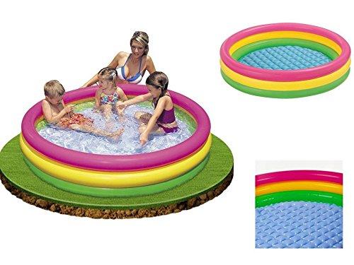 Grande piscine gonflable à 3 boudins avec fond gonflable pour baignade et jeux - Diamètre 1,47 mètre et 33 cm de haut