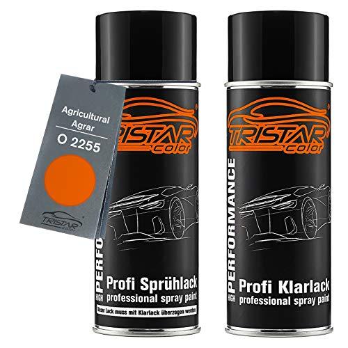TRISTARcolor Autolack Spraydosen Set für Agricultural/Agrar O 2255 Kubota Orange Basislack Klarlack Sprühdose 400ml