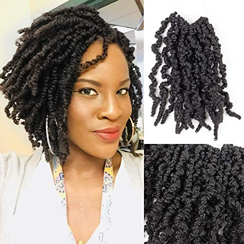 6 Packs Short Spring Twist Hair 10 inch Curly Spring Pre-twisted Braids Synthetic Crochet Hair Extensions Pre-Twisted Passion Twists Crochet Braids (10inch, 1B)