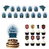 Cupcake Toppers Set - BESLIEM Cake Decorations Food Picks, Banner, Game Theme Party Supplies ,Theme Party Decorations